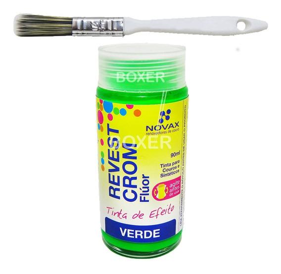 Tinta Verde Fluorescente Para Couro Revestcrom Novax 90ml