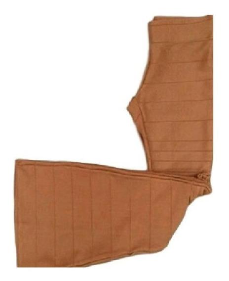 Calça Bandagem Flare Cintura Alta Marrom Alta Compressão