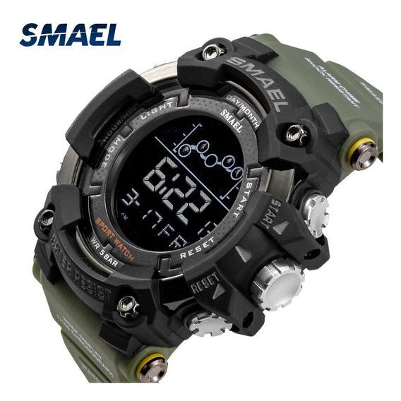 Relógio Smael 1802 / Verde / Tático / Militar Prova D