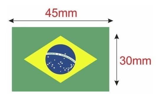 100 Unid Etiqueta Bandeira Brasil Termo - Tamanho 30 X 45mm