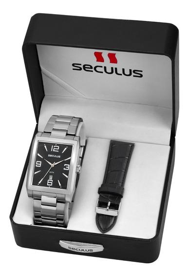 Relógio Seculus Masculino 23628g0svna1 2 Em 1 Prata Quadrado