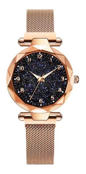 Relógio Feminino Céu Estrelado Elegante Pulseira Magnética