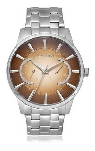 Relógio Technos Prateado Masculino Grandtech 6p25ap/1m