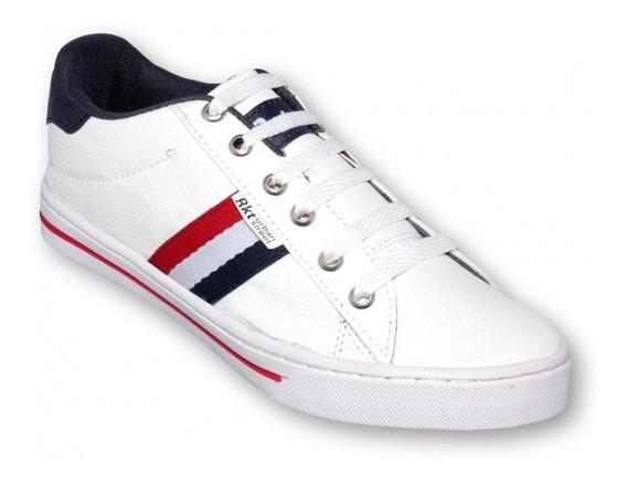 Tenis De Moda Simipiel Blanco Marino-mod.0111ra5492264