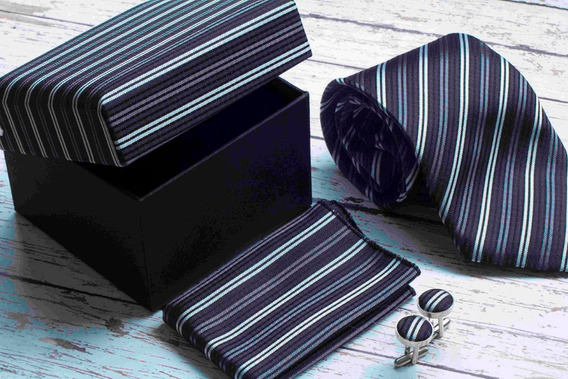 Set De Corbata, Mancuernillas Y Pañuelo Gris Con Negro