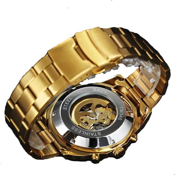 Relogio Skeleton Original,automatico Transparente,dourado Pr
