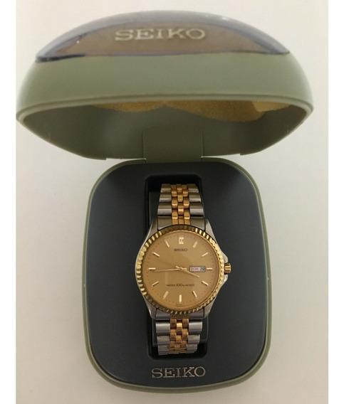 Relógio Seiko Com Estojo, Calendário Duplo,antigo, Não Funci