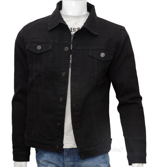Jaqueta Jeans Masculina Preta Black Premium Fit Com 6 Bolsos