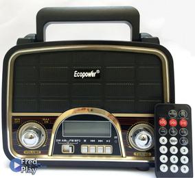 Radio Retrô Vintage Recarregavel Amfm Usb Sd Moderno C/ Luz