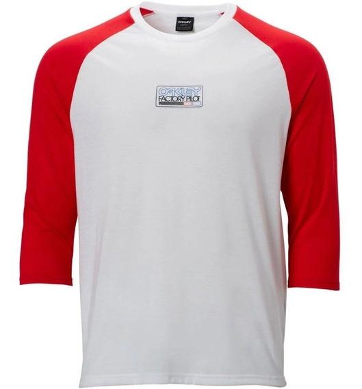 Oakley Factory Pilot Tee Playera 3/4 Rojo / Blanco Tallas