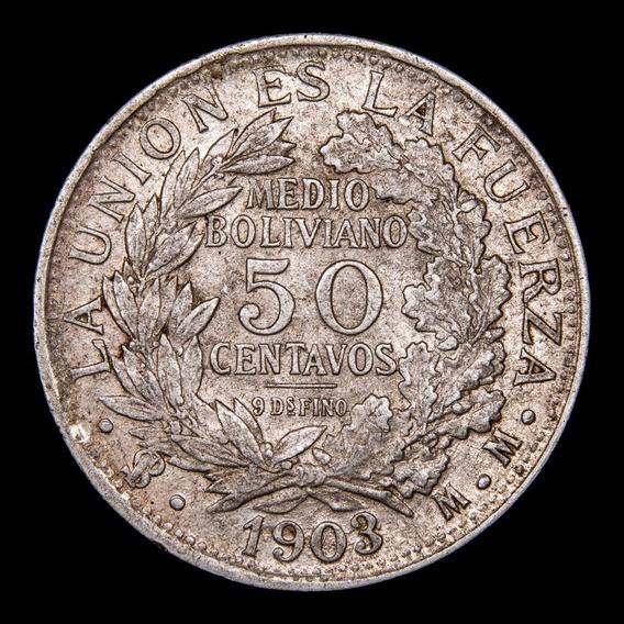 Ch C / Bolivia - 50 Centavos 1903 Km# 175 Plata