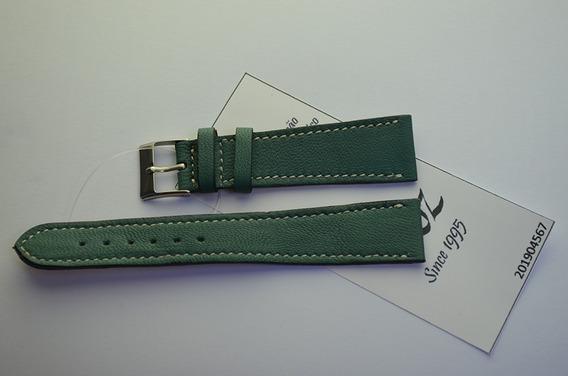 Pulseira Rfóz Couro Bem Macio Verde Royal 20mm 201904567