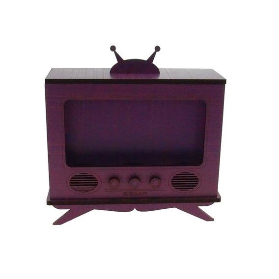 Tv Antiga Decorativa Roxa Madeira