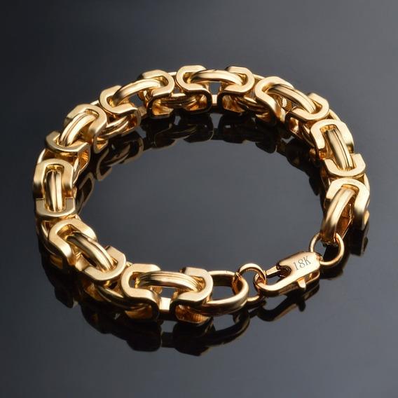 Pulseira Masculina Aço Banhada Ouro 18k - Largura 8mm Grossa Dourada Marido Namorado C617