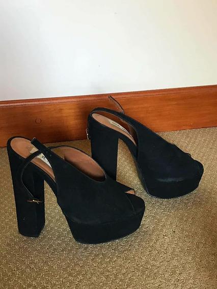 Zapatos Cuero Nobuk Negro - Boquita De Pez - Divinos!!!