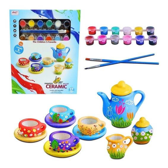 Juego De Te Ceramica De Nenas Para Pintar Rre 555-diy003