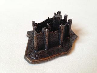 Castillo Miniatura Medieval Almourol Portugal Metálico 7x5cm