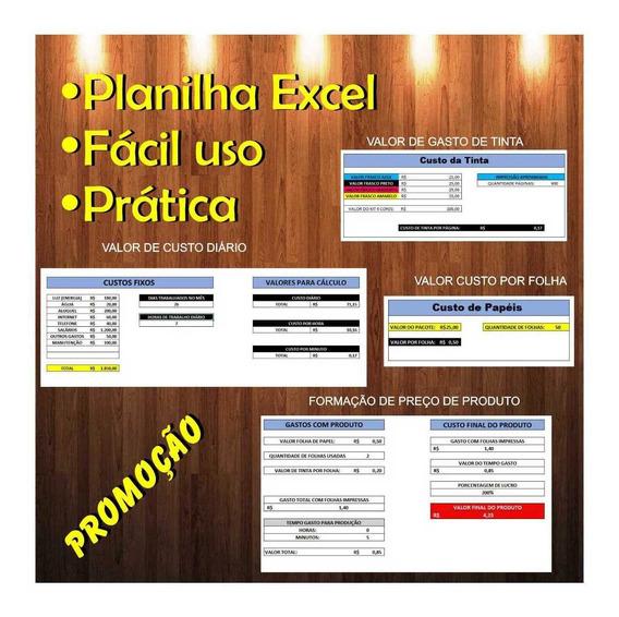 Planilha Calcular Valor Produtos Personalizados