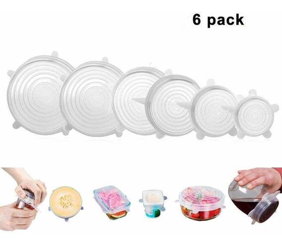 Set Tapas De Silicona Reutilizables X 6 Cocina Excelentes