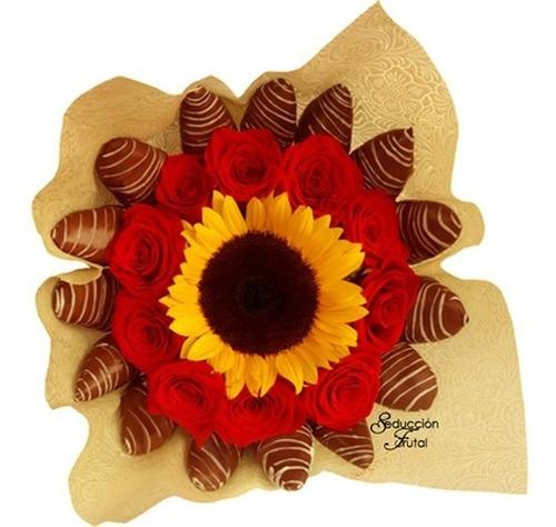 Arreglos Frutales Ramo Flores Fresas Chocolate Rosas Quito