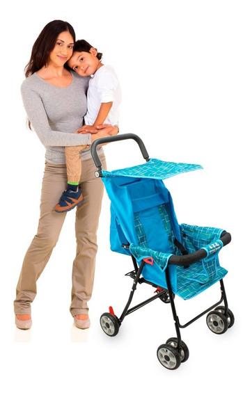 Carrinho De Bebe Para Passeio Guarda Chuva Menino Azul