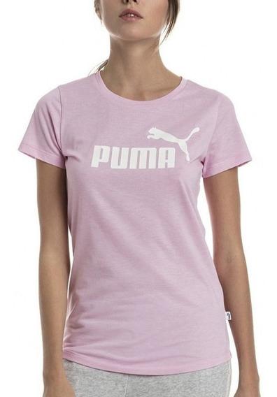 Puma Remera Ess+ Logo Heather Pink