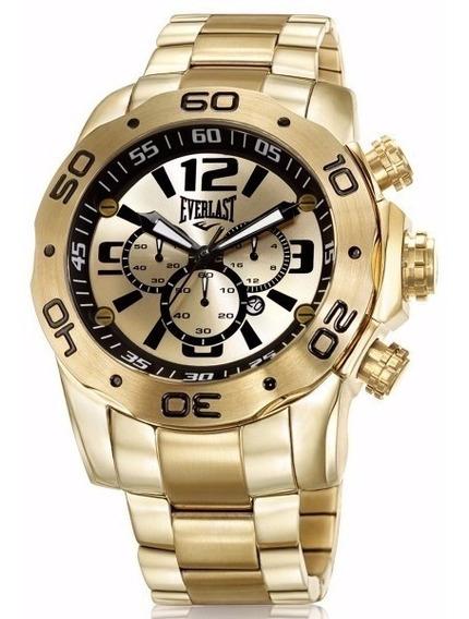 Relógio Everlast Masculino Dourado Analógico - E545