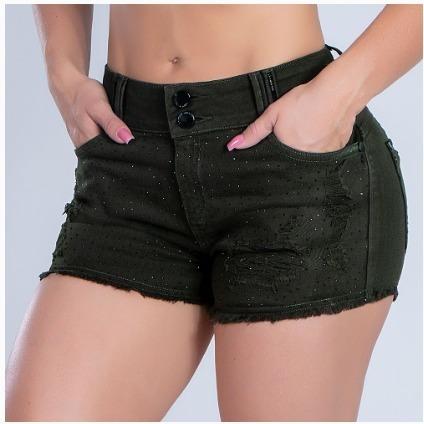 Shorts Jeans Fem Verde Militar Original Pit Bull Ref. 33324