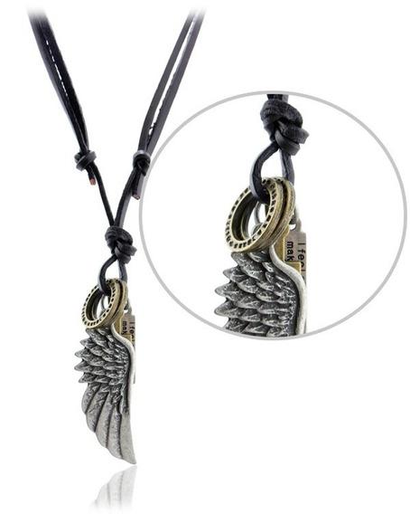 Amuleto Colar Couro Legítimo Asa De Anjo Proteção Espiritual