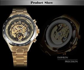 Relógio Winner Dourado, Esqueleto.