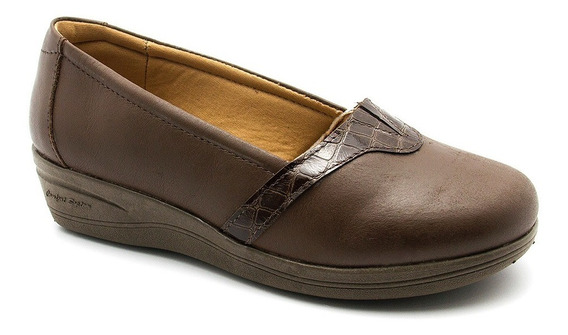 Sapato Feminino Anabela 195 Havana/croco Café Doctor Shoes
