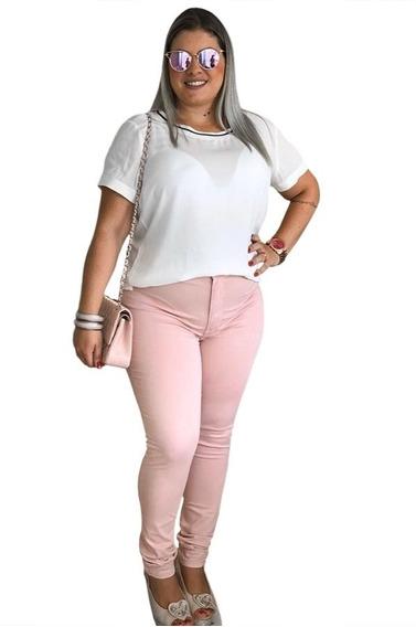 Calça Jeans Feminina Plus Size Colorida Cintura Alta