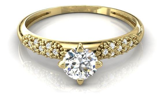 Anel Solitário Cravado Pedras Zircônias Ouro - Cor Dourado