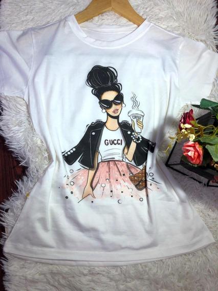 Blusa Feminina T Shirt Diversas Estampas 5 Peças Atacado