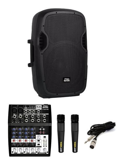 Caixa Ativa 15 + Mesa De Som Pro + 2 Microfones Skp + Nfe