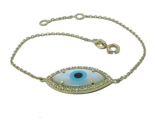 Pulseira Olho Grego Navete Com Diamantes Em Ouro 18k