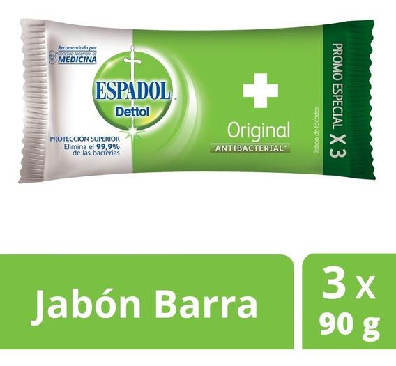 Espadol - Jabón Antibacterial Original Pack X 3 X 90 Grs