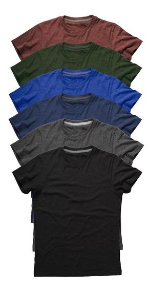 Kit 6 Camisetas Básicas Masculinas Lisa 100% Algodão Premium