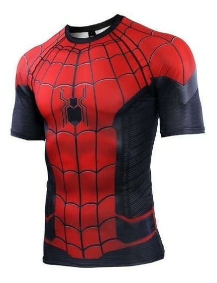 Camisa Compresion Marvel Avengers Spiderman Far From Home Playera Hombre Manga Corta Licra Crossfit Gym Rashguard