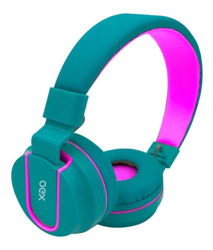 Fone De Ouvido Microfone Dobravel Oex Teen Verde Com Rosa