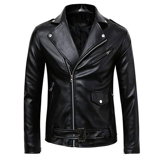 Chaqueta Biker Sintética Pu Leather Para Hombre-negro M-4xl