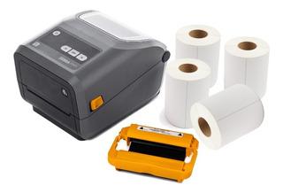 Impresora Zebra Zd420 +2 Rbn +4 Rollos Etiq -promo 6 S/int.