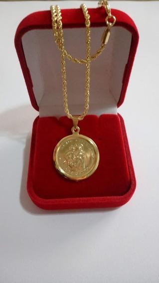 Cordão 45cm Com Pingente De Santo Antonio Banhado A Ouro 18k