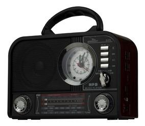 Radio Com Relógio Despertador Am Fm Usb Sd Bluetooth Vintage