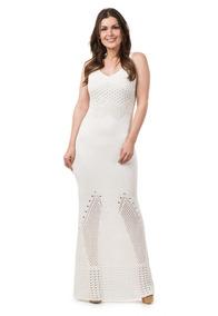 Vestido Longo Feminino De Tricot Crochê Festa Noiva Branco