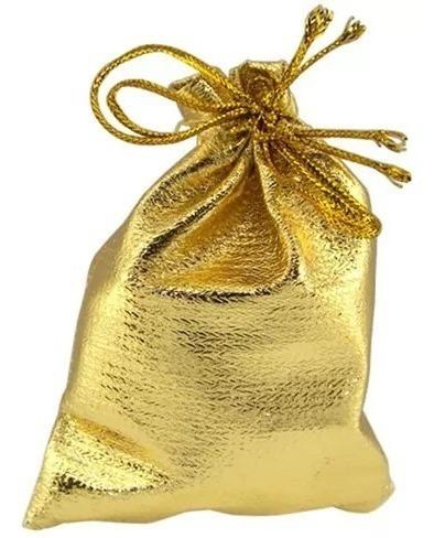 100 Saquinhos Lamê Ouro Embalagens Jóias Colares 9x12