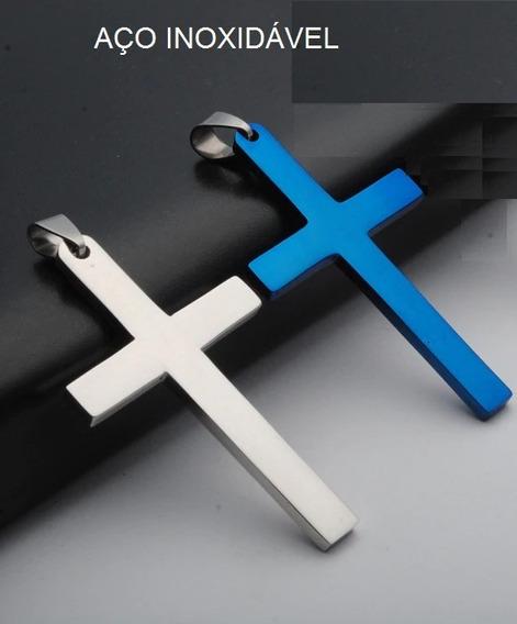 Colar Crucifixo Masculino Aço Inox Azul 61081