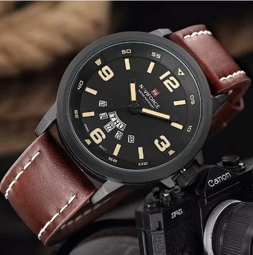 Relógio Masculino Naviforce 9028 Original Militar Couro