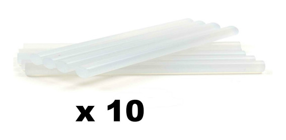 10 Barras Adhesiva De Silicona Finas Largas 30cm P/ Pistola