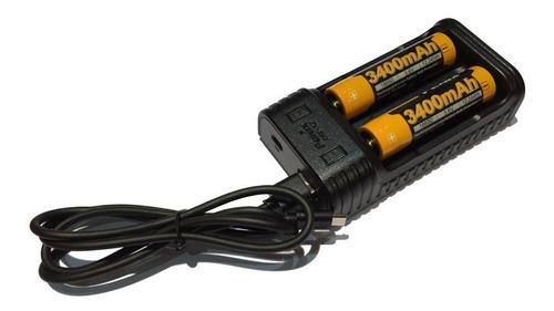 Imagen 1 de 6 de Combo  Baterias Cargador Doble Fenix + 2x 18650 3400mah 3.6v